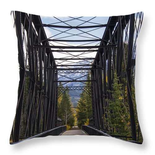 Canmore Canada Iron Bridge Railroad Bridges Trestle Trestles Architecture Mountain Mountains Cloud Clouds Throw Pillow featuring the photograph Old Canmore Railroad Bridge by Bob Phillips