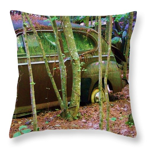 Car Throw Pillow featuring the photograph Old Car In The Woods by Chuck Hicks