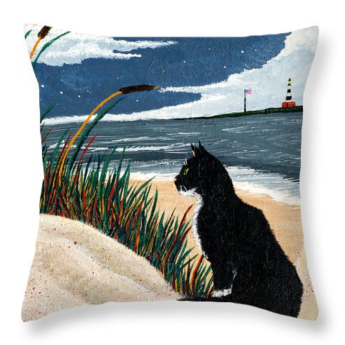 Beach Throw Pillow featuring the painting Old Cat And The Sea by Edward Fuller
