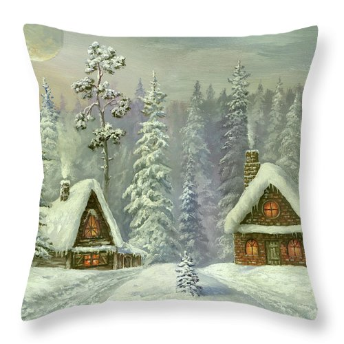 Art Throw Pillow featuring the digital art Old Christmas Card by Pobytov
