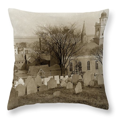 Church Throw Pillow featuring the photograph Old Church's Cemetery Graveyard Boston Massachusetts Circa 1900 by California Views Archives Mr Pat Hathaway Archives