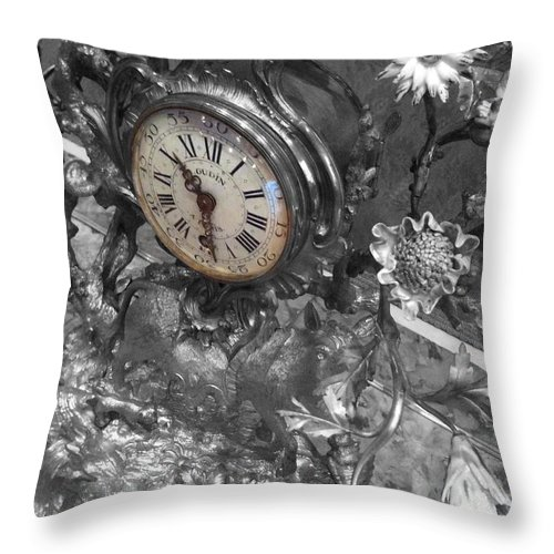Old Throw Pillow featuring the photograph Old Clock by Aaron Swenson