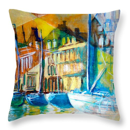 Old World Street Throw Pillow featuring the painting Old Copenhagen Thru Stained Glass by Seth Weaver