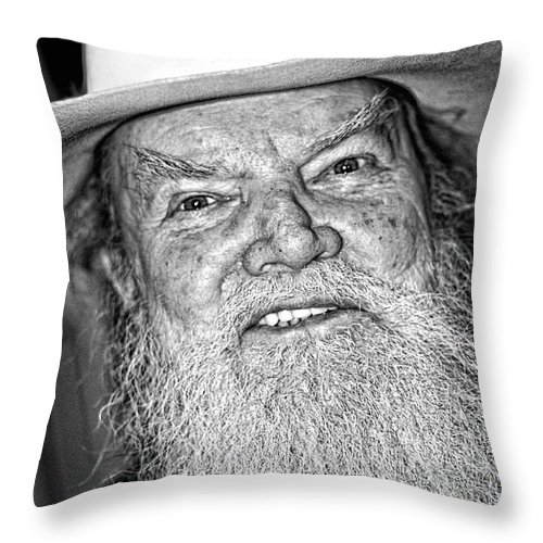 Portrait Throw Pillow featuring the photograph Old Cowboy In Black And White by Andy Crawford