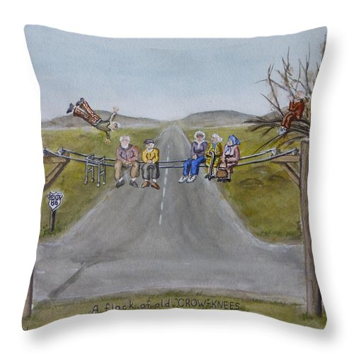 Crows Throw Pillow featuring the painting Old Crowknees Fly South by Kelly Mills