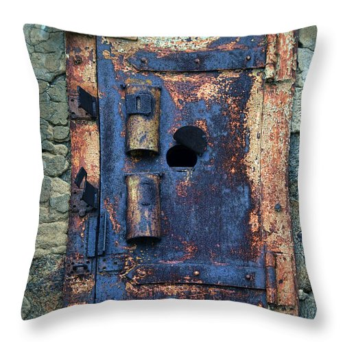 Solitary Throw Pillow featuring the photograph Old Door At Abandoned Prison by Jill Battaglia