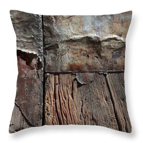 Door Throw Pillow featuring the photograph Old Door Textures by James Brunker