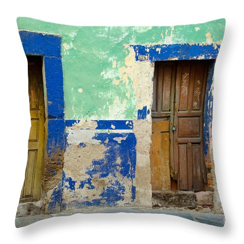 Travel Throw Pillow featuring the photograph Old Doors, Mexico by John Shaw