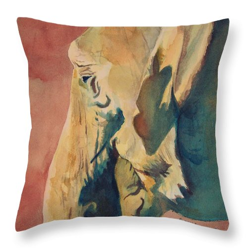 Elephant Throw Pillow featuring the painting Old Elephant by Andrew Gillette