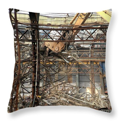 Factory Throw Pillow featuring the photograph Old Factory Is Being Demolished by Yali Shi