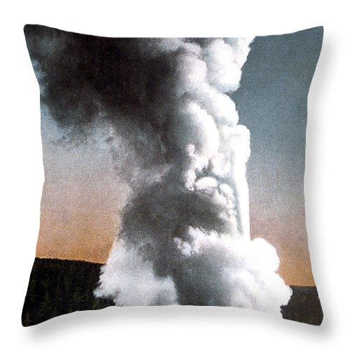 Old Faithful Throw Pillow featuring the photograph Old Faithful Geyser Yellowstone Np by NPS Photo Frank J Haynes