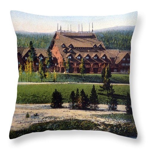 History Throw Pillow featuring the photograph Old Faithful Inn Yellowstone Np 1928 by NPS Photo Asahel Curtis