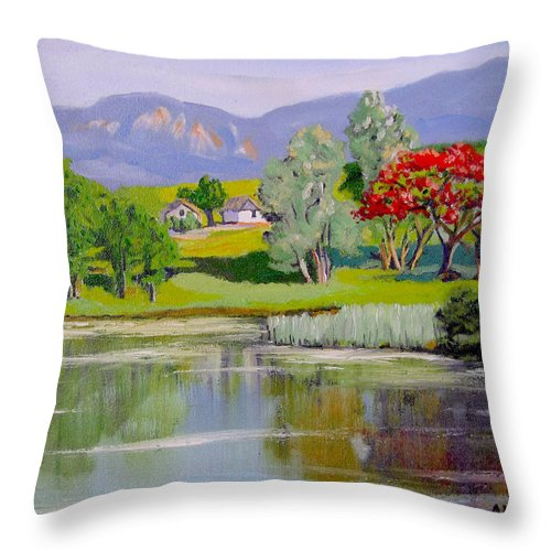 Oil Throw Pillow featuring the painting Old Farm by Jose Manuel Abraham