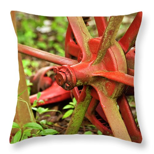 Farm Tools Throw Pillow featuring the photograph Old Farm Tractor Wheel by Carolyn Marshall
