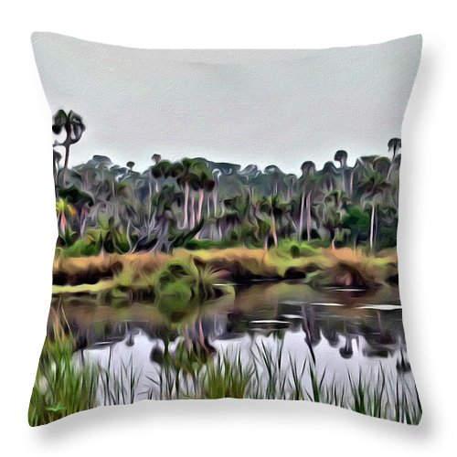 Florida Swamp Scenic Throw Pillow featuring the photograph Old Florida Waterway by Alice Gipson