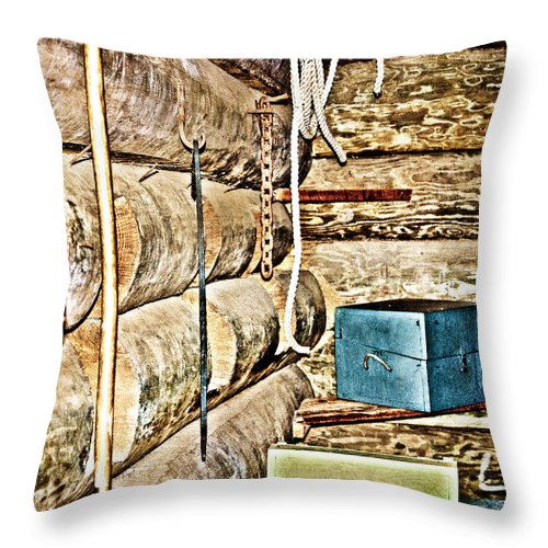 Fort Throw Pillow featuring the photograph Old Fort Interior Room by Judy Hall-Folde
