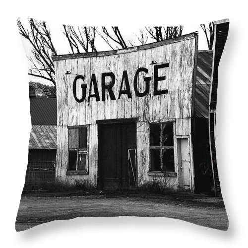 Photography Throw Pillow featuring the photograph Old Garage by Mara Lee