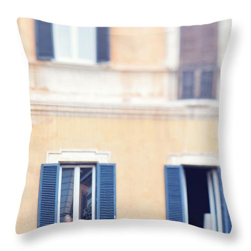 Italy Throw Pillow featuring the photograph Old Lady In Window by Kim Fearheiley