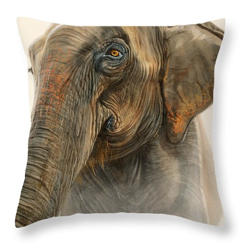 Elephant Throw Pillow featuring the digital art Old Lady Of Nepal 2 by Aaron Blaise