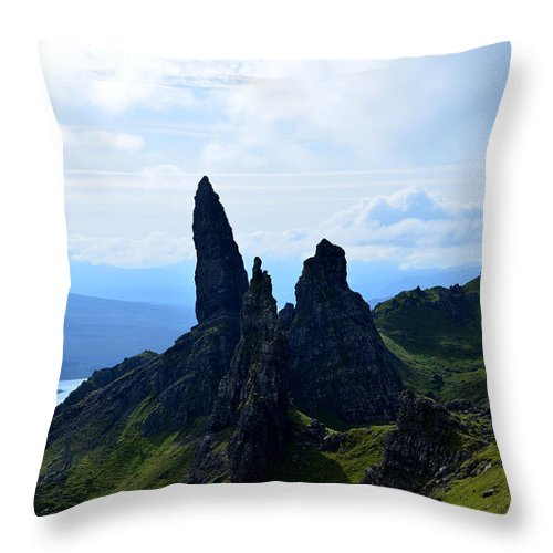 Old Man Of Storr Throw Pillow featuring the photograph Old Man Of Storr Hike by DejaVu Designs