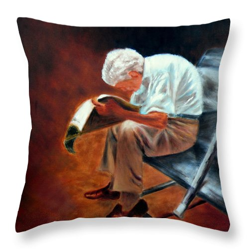 Old Man Reading Throw Pillow featuring the painting Old Man Reading by Uma Krishnamoorthy