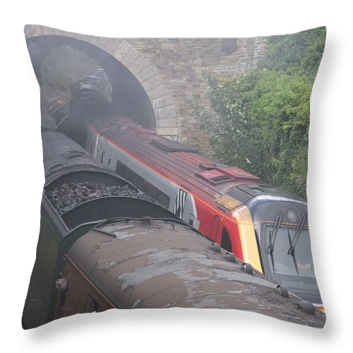 Trains Throw Pillow featuring the photograph Old Meets New. by Christopher Rowlands