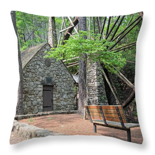Old Grist Mill Throw Pillow featuring the photograph Old Mill by Ed Waldrop