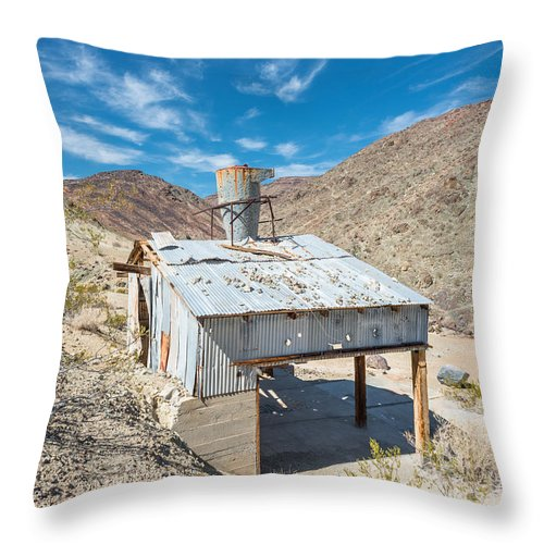 Landscape Throw Pillow featuring the photograph Old Mine On Old Toll Road In Death Valley by Alyaksandr Stzhalkouski
