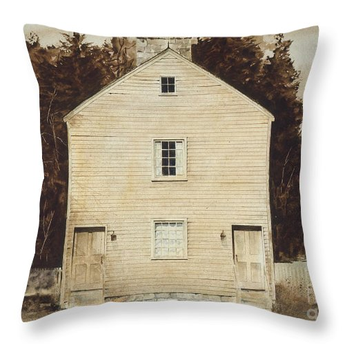 A Simple Wooden Structure Located On The Grounds Of The Pleasant Hill Shaker Village Near Harrodsburg Throw Pillow featuring the painting Old Ministry's Shop by Monte Toon