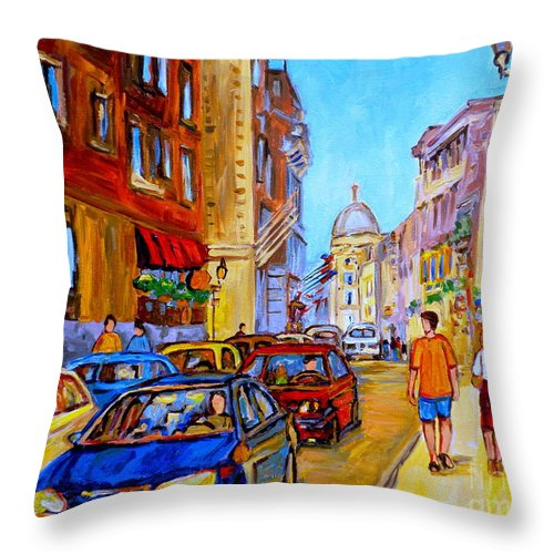 Old Montreal Street Scenes Throw Pillow featuring the painting Old Montreal by Carole Spandau