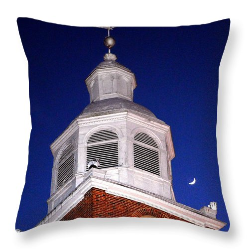 Old Otterbein United Methodist Church Throw Pillow featuring the photograph Old Otterbein Umc Moon And Bell Tower by Bill Swartwout Fine Art Photography