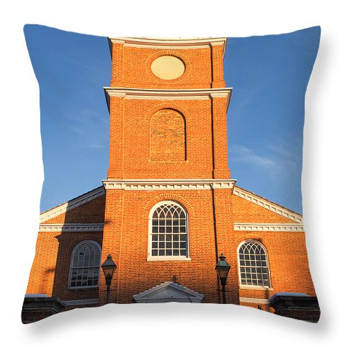 Old Otterbein United Methodist Church Throw Pillow featuring the photograph Old Otterbein United Methodist Church Entry by Bill Swartwout Fine Art Photography