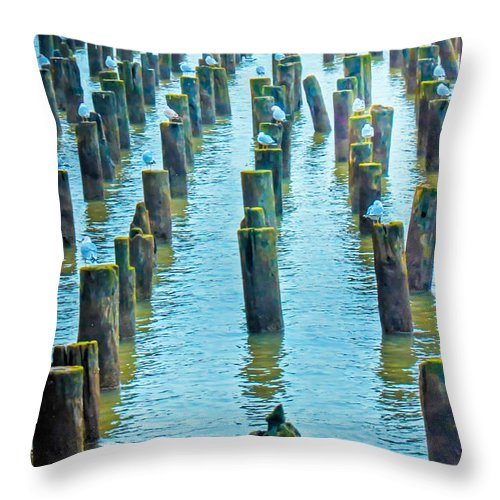 2014 Throw Pillow featuring the photograph Old Piers by PatriZio M Busnel