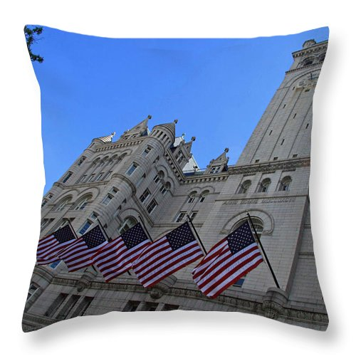 Old Post Office Throw Pillow featuring the photograph The Old Post Office Or Trump Tower by Cora Wandel