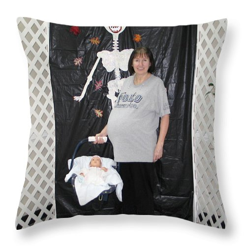 Halloween Throw Pillow featuring the photograph Old Pregnant Lady With A Baby by Renee Trenholm
