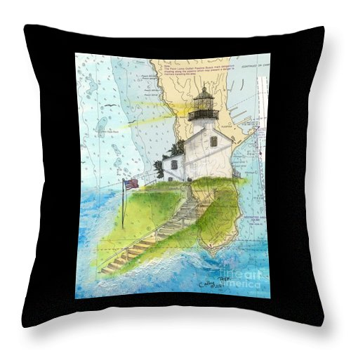 Old Throw Pillow featuring the painting Old Pt Loma Lighthouse Ca Nautical Chart Map Art Cathy Peek by Cathy Peek