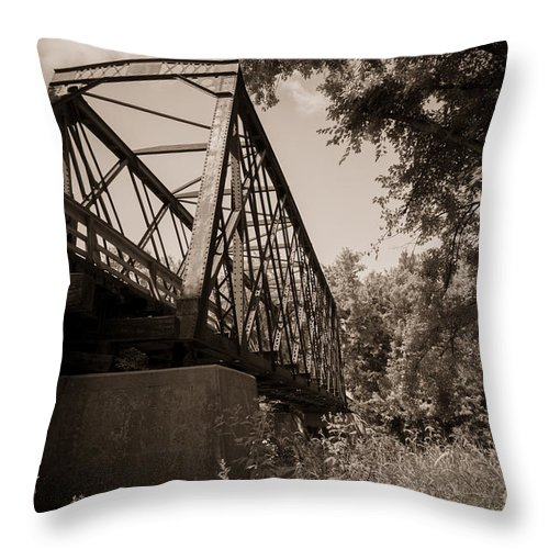 Trestle Throw Pillow featuring the photograph Old Rail Bridge by M Dale