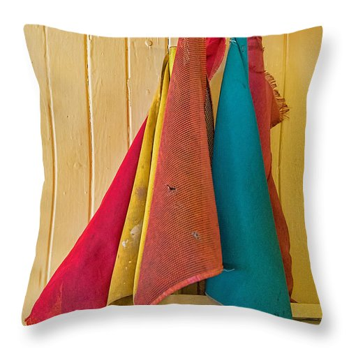 Old Railroad Signal Flags In Caboose Throw Pillow