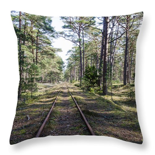 Antique Throw Pillow featuring the photograph Old Railroad Tracks by Kennerth and Birgitta Kullman