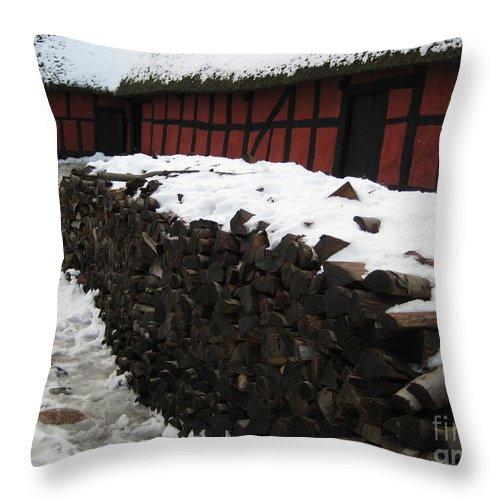Farm Throw Pillow featuring the photograph Old Red Farm by Susanne Baumann