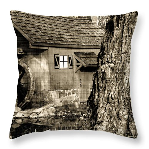 Black And White Throw Pillow featuring the photograph Old Red Mill by Melvin Busch