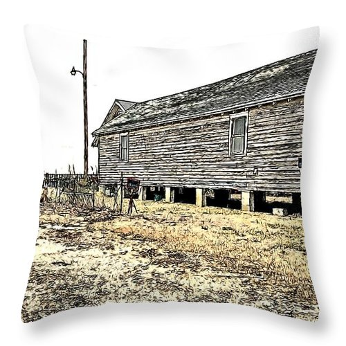 Building Throw Pillow featuring the photograph Old Salted Building by Alice Gipson