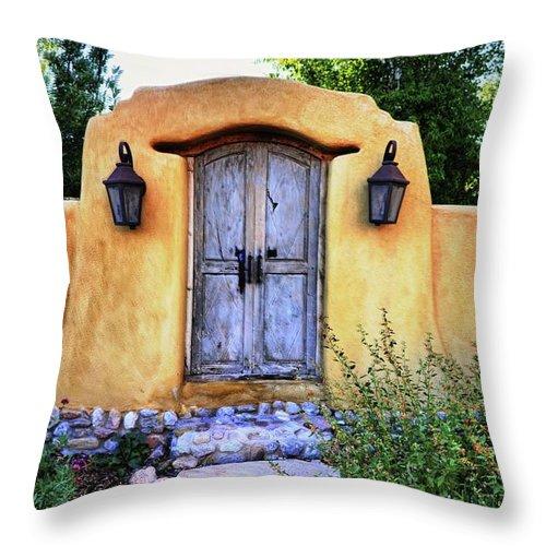 Santa Fe Throw Pillow featuring the photograph Old Santa Fe Gate by Paul Beckelheimer