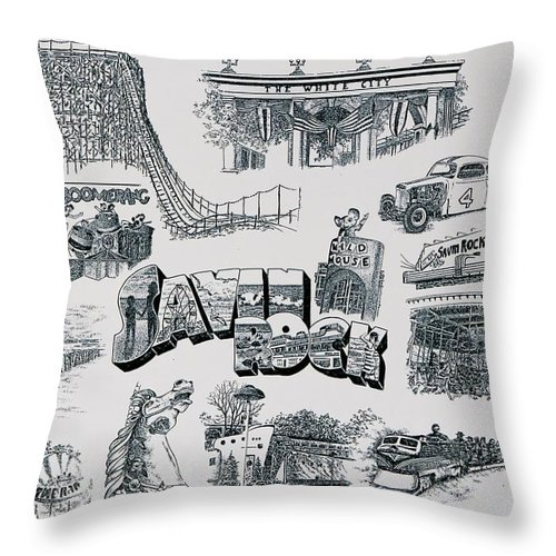 Savin Rock Amusement Park New England Historical Poster West Haven Carnival Throw Pillow featuring the painting Old Savin Rock by Tony Ruggiero