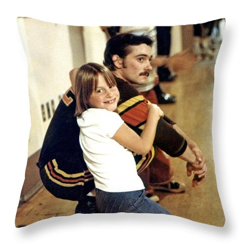 Old School Throw Pillow featuring the photograph Old School Roller Derby Skater And His Number One Fan by Jim Fitzpatrick