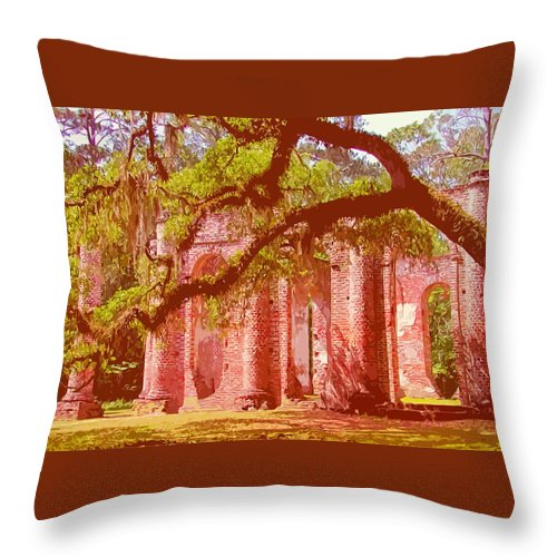 Ruins Throw Pillow featuring the digital art Old Sheldon Church by Marti Snider