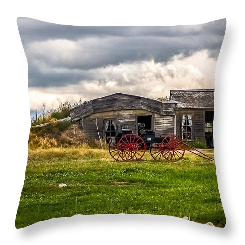 Old Sod Home Throw Pillow featuring the photograph Old Sod Home by Bill Lindsay