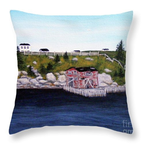 Barbara Griffin Throw Pillow featuring the painting Old Stage And Storeloft by Barbara Griffin