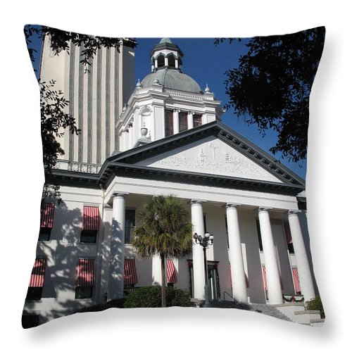 Tallahassee Throw Pillow featuring the photograph Old State Capitol - Florida by Christiane Schulze Art And Photography