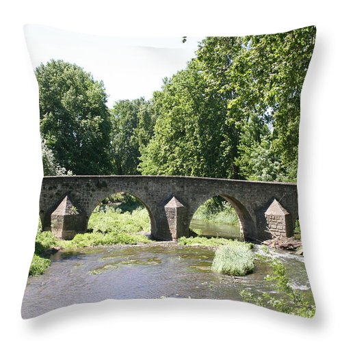 Stone Arch Bridge Throw Pillow featuring the photograph Old Stone Arch Bridge by Christiane Schulze Art And Photography